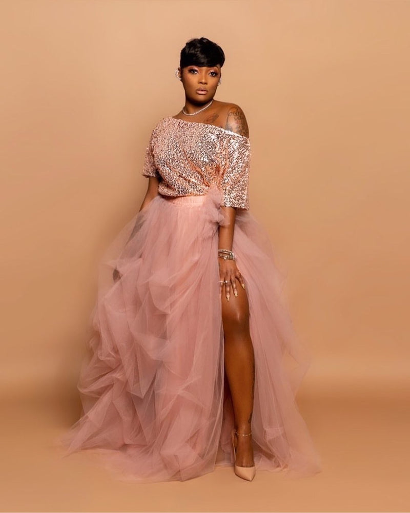 Oyemwen Sequined High Slit Maxi Tutu Skirt Set in Mauve