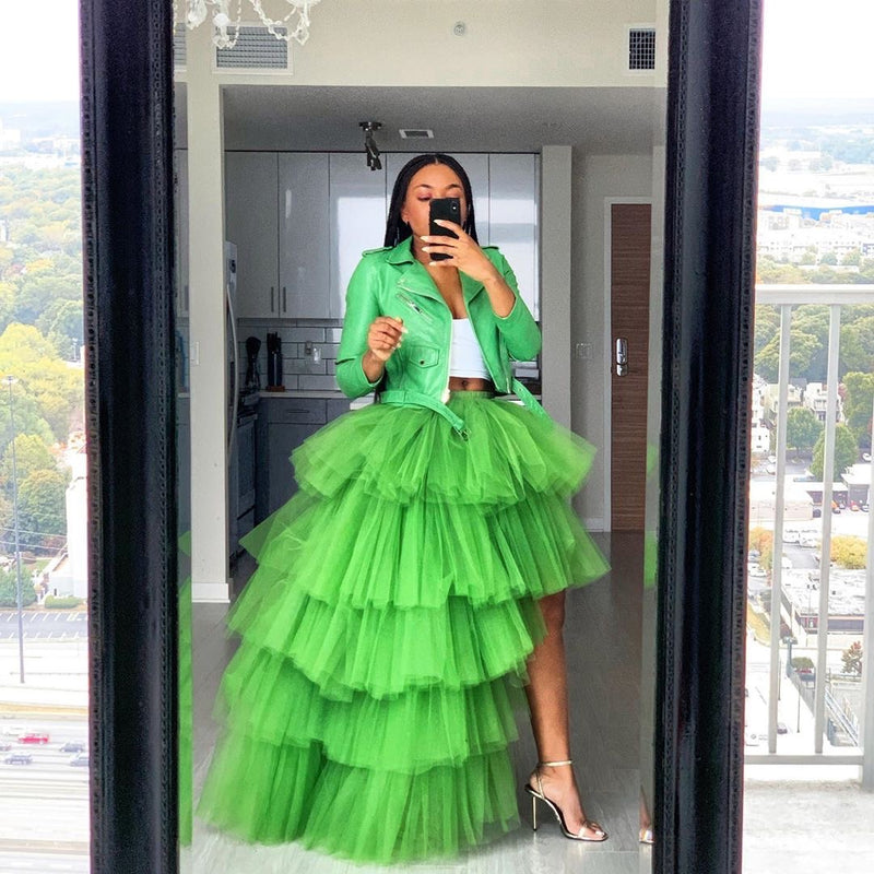 Oyemwen Tiered High Low Tulle Maxi Tutu Skirt Green