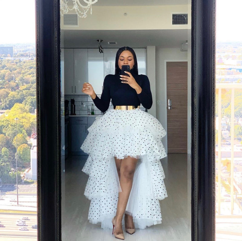 Oyemwen Tiered High Low Tulle Maxi Tutu Orchid Skirt Polka Dot