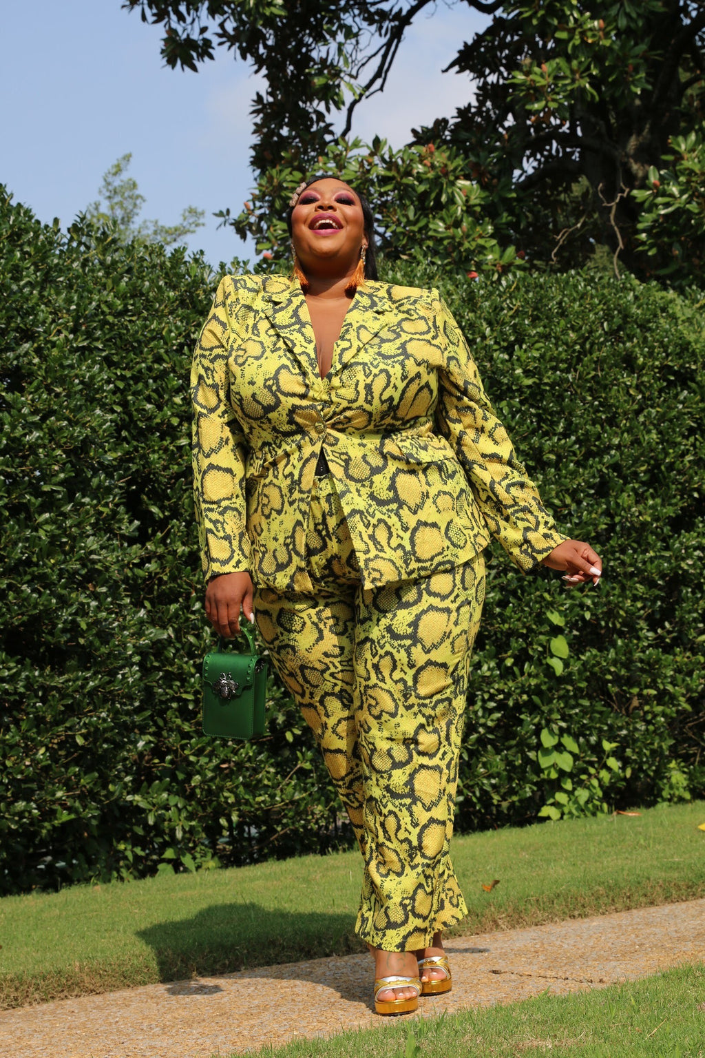 Yellow Snake Suit by Dean of Fashion (Up to Size 3X)