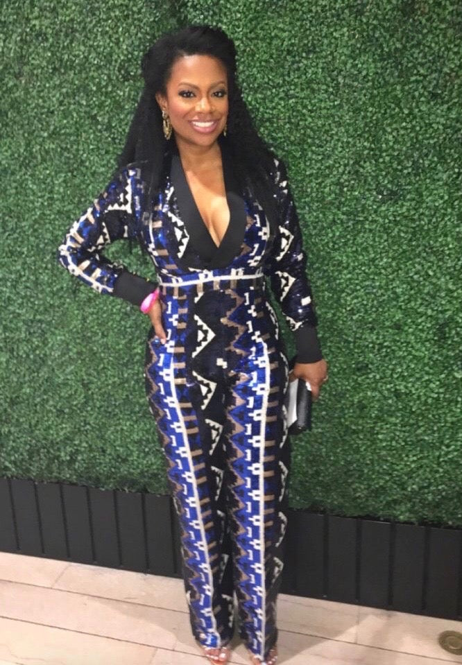 S. Denton Collection Sequined Jumpsuit in Blue as worn by Yandy Smith, Kandi, and More