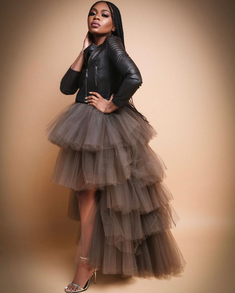 Oyemwen Tiered High Low Tulle Maxi Tutu Orchid Skirt Dark Brown