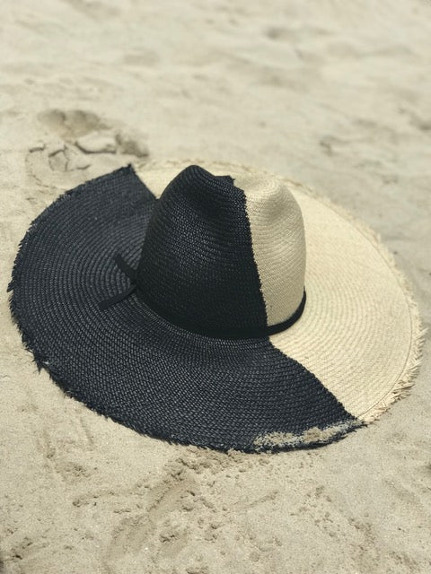 Fashion Bomb Daily x Frances Grey Panama Straw Hat in Black and Cream