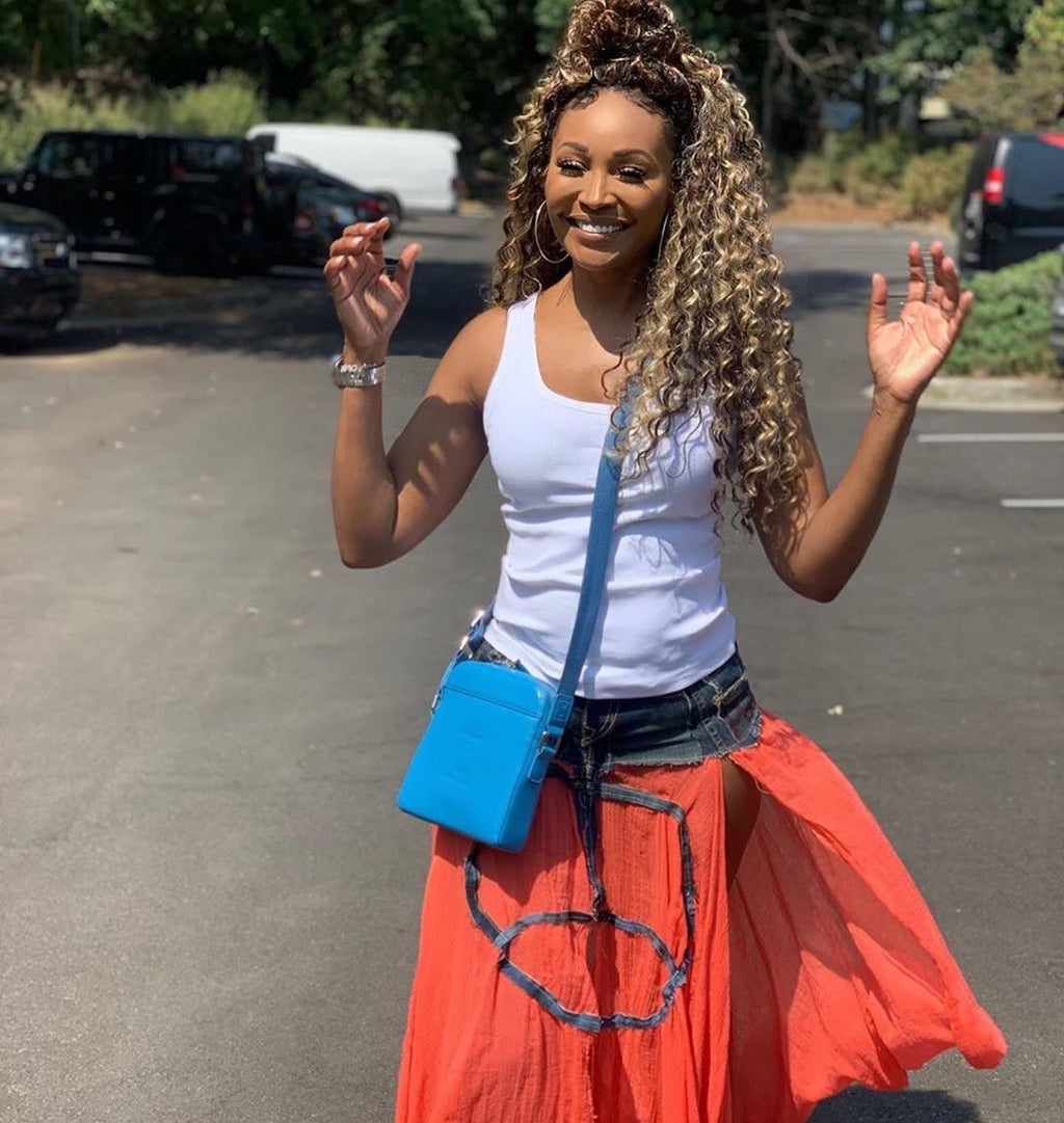 CB Vior Blue Leather Messenger Bag as Worn by Cynthia Bailey