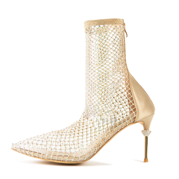 Cult of Coquette Vegan Naomi Crystal Booties in Gold