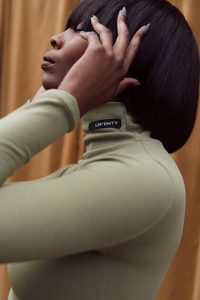 LEVENITY Olive Green Long Sleeve Turtleneck