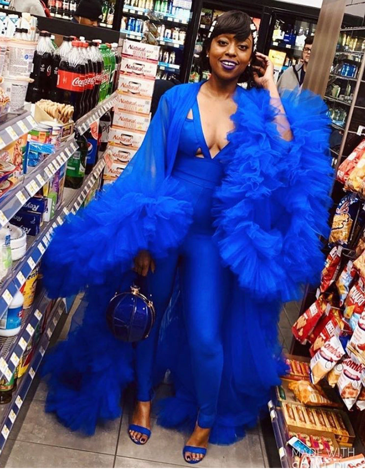 Oyemwen Royal Blue Tulle Robe