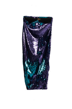 S. Denton Collection Purple/Teal Sequined Skirt