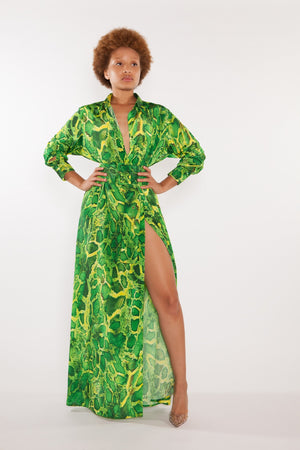 Pre-Order for October Sai Sankoh Algeria Green Printed Snake Shirt Dress as worn by Kandi Burruss Tucker