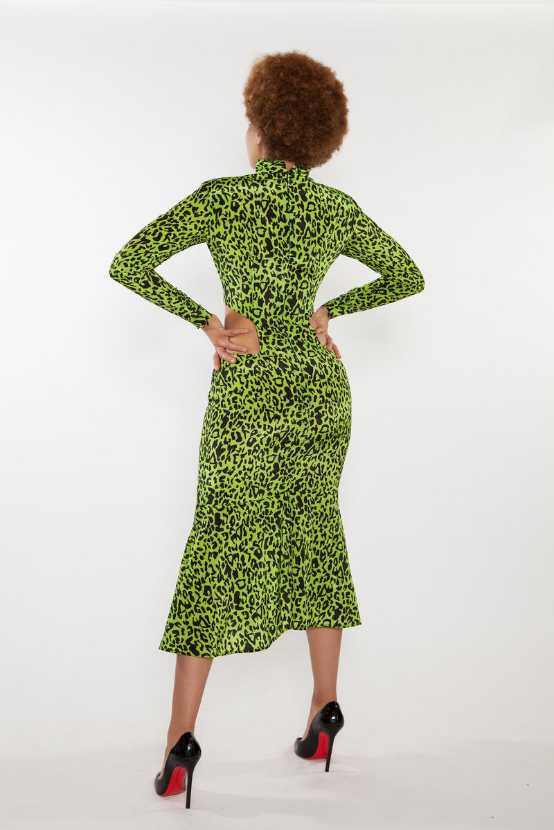 Sai Sankoh High Neck Neon and Black Cheetah Print Cut Out Dress
