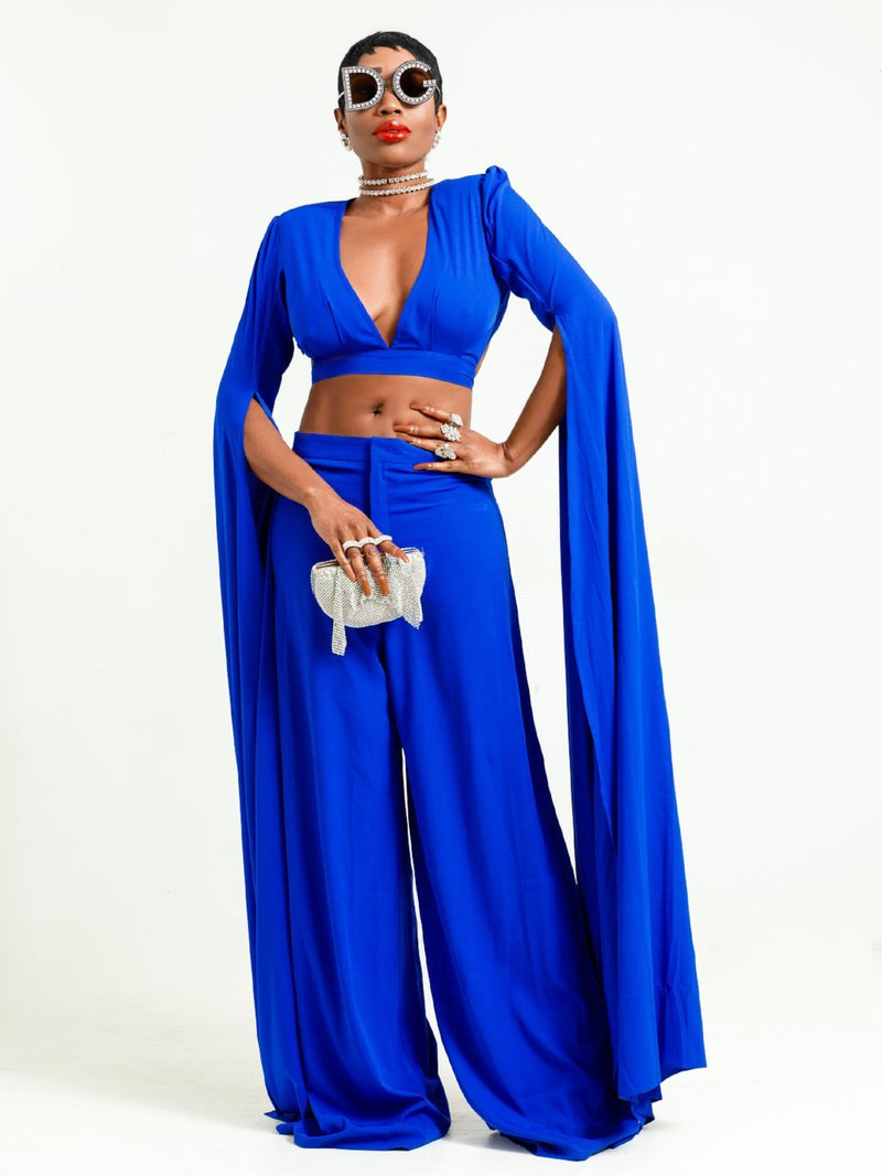 Sai Sankoh Blue Crop Top and Pant Set