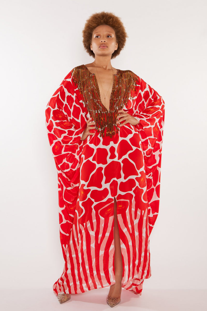 Sai Sankoh Red And White Marlo Kaftan