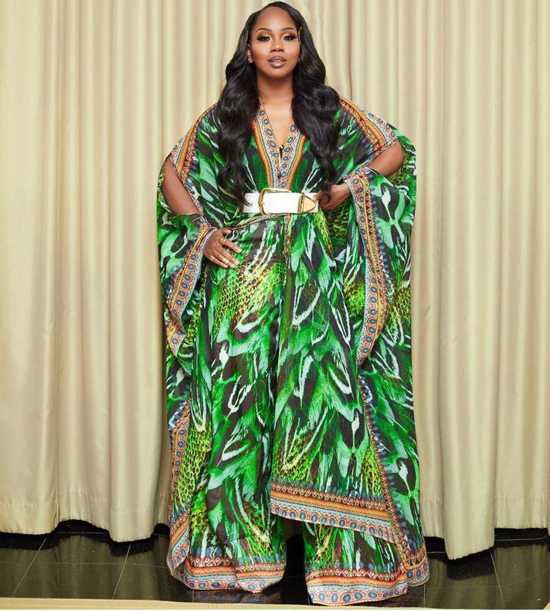 Sai Sankoh Green Printed Amazon Pants (As Worn by Sarah Jakes Roberts)