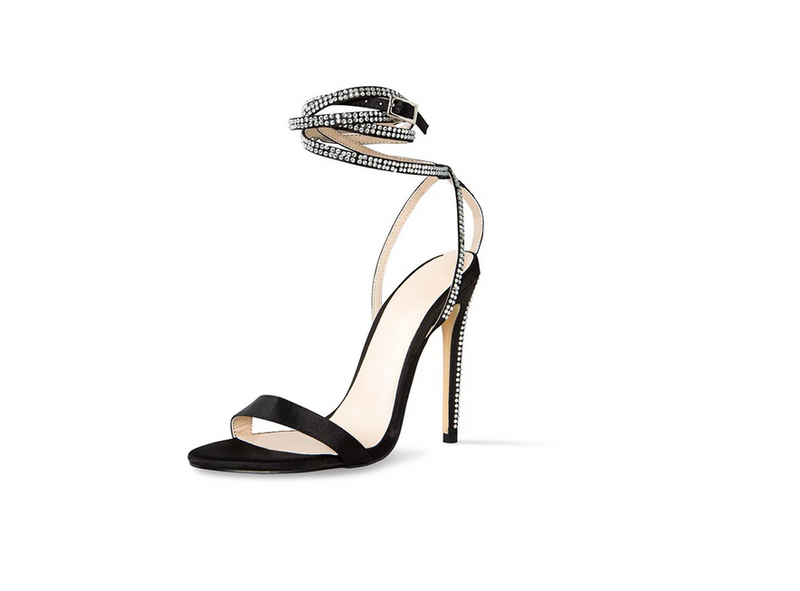 Cult of Coquette Ingrid Vegan Satin Crystal Detail Black Sandals