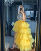 Oyemwen Tiered High Low Tulle Maxi Tutu Skirt Yellow (Top and Skirt Set)