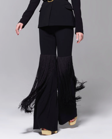 Sergio Hudson High Waist Wide Legged Black Fringed Pants