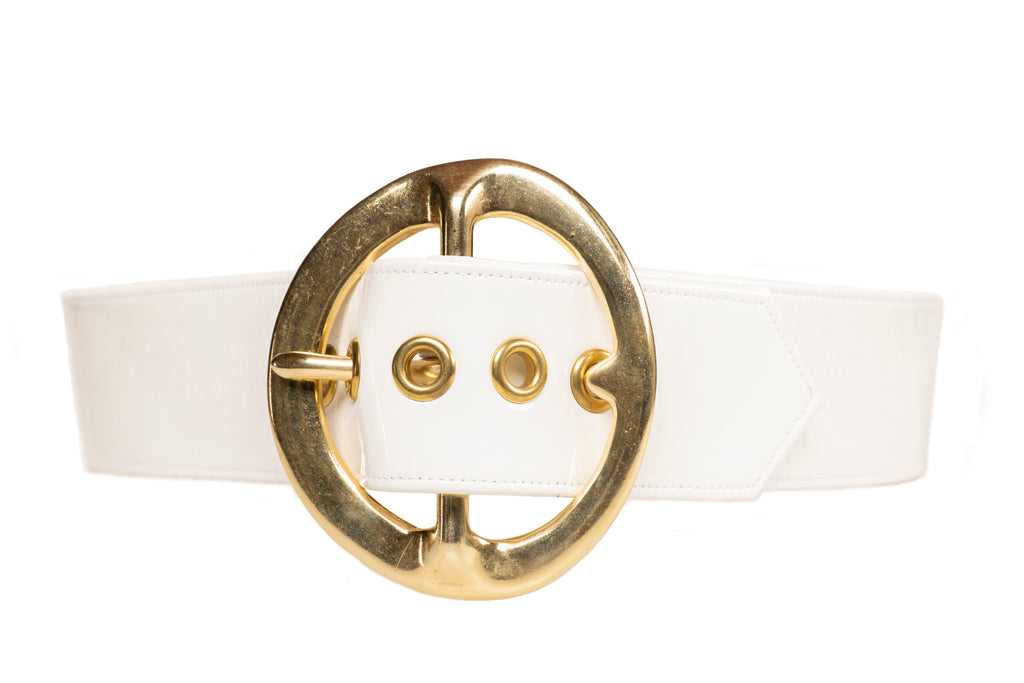 Pre-Order Sergio Hudson Signature White Leather Belt