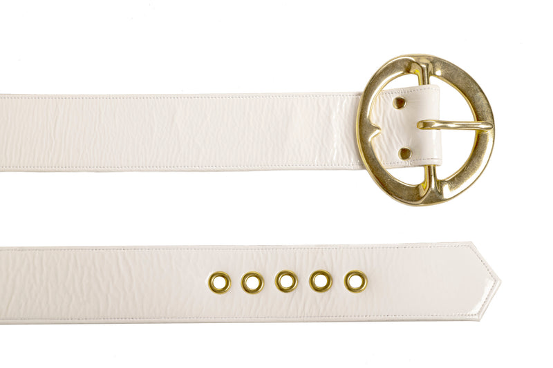 Sergio Hudson Signature White Leather Belt