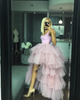 Oyemwen Tiered High Low Tulle Maxi Tutu Skirt Pink