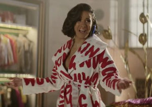 These Pink Lips Working Woman Red and White Trench As Worn by Cardi B