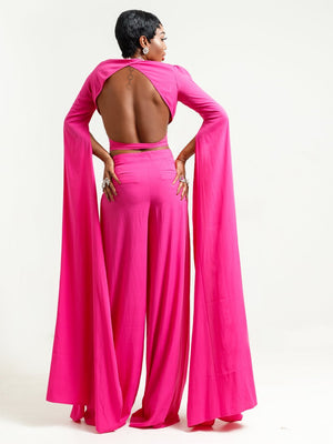 Sai Sankoh Pink Crop Top and Pant Set