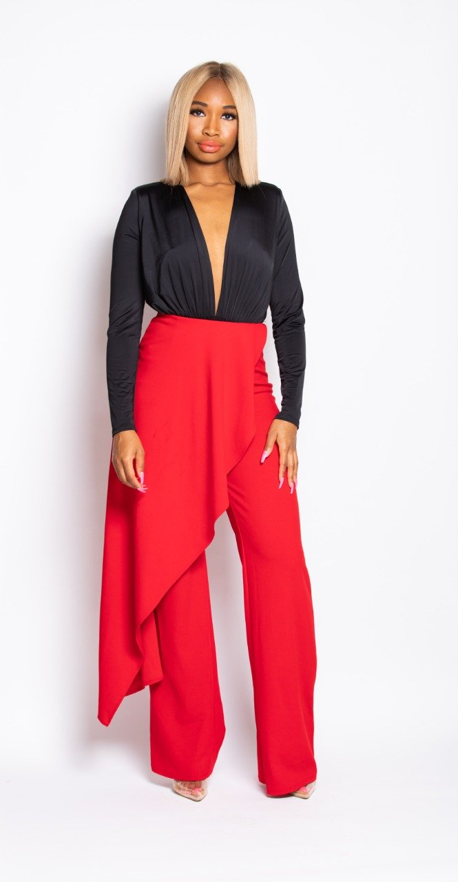 Madam Mystique Esmee Red Side Drape Dress Pants
