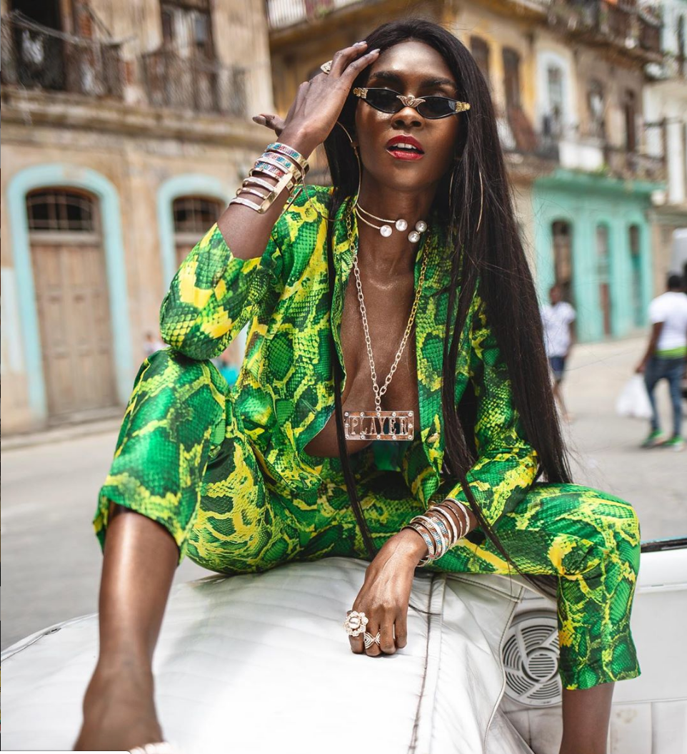 Sai Sankoh Zendaya Green Snakeskin Pant Suit as Worn by Michelle Williams