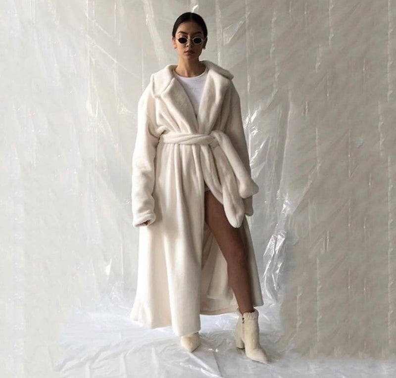 My Mum Made it Cream Teddy Belted Jacket As Worn by Laura Govan and Kylie Jenner
