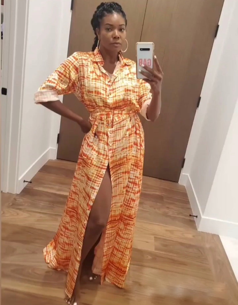 Sai Sankoh Orange and White Printed Shirt Dress as Worn by Gabrielle Union