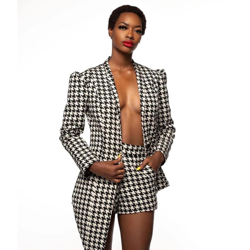 Shan Latris Black and White Houndstooth Blazer with Back Lace Up Detail