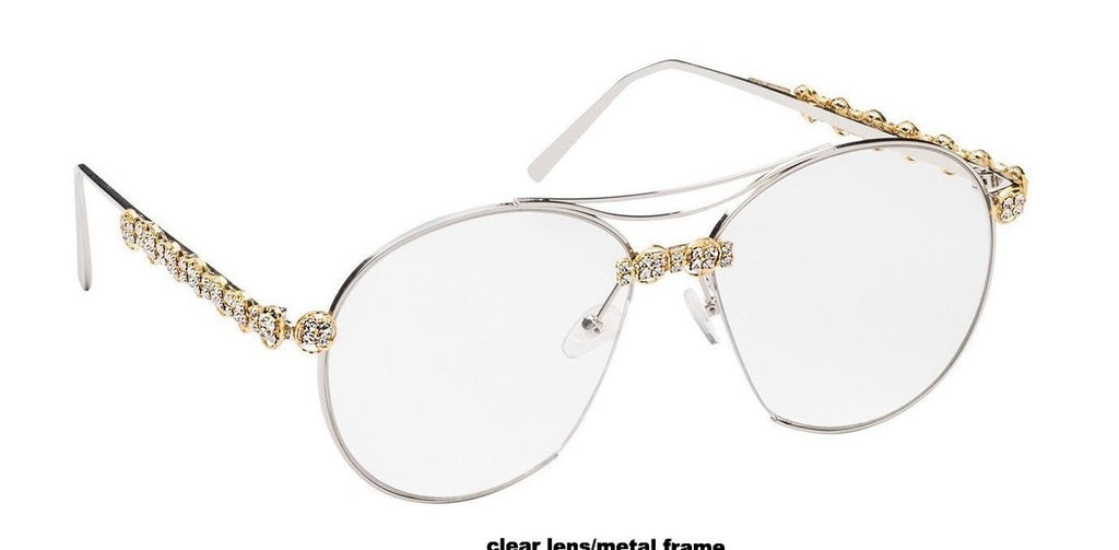 Nroda Better than the Rest Crystal Adorned Clear Sunglasses