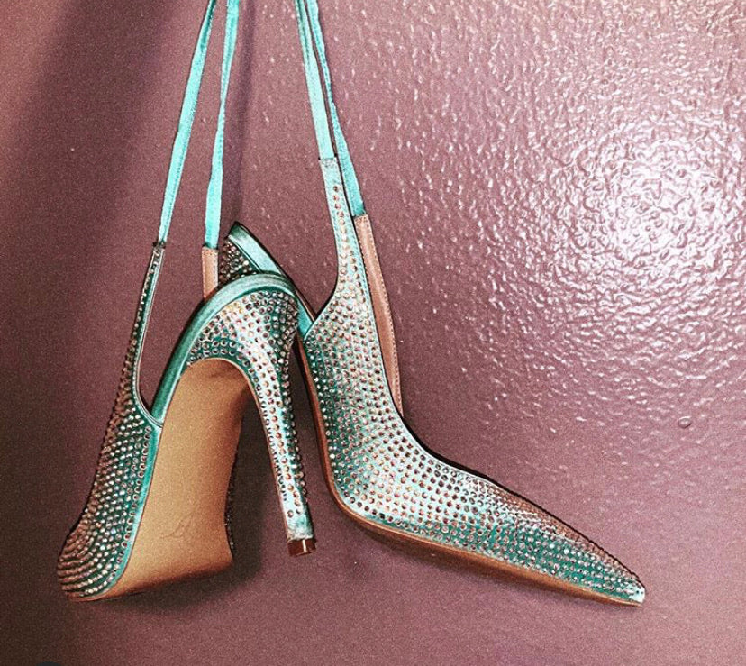 Cult of Coquette Diane Tiffany Blue Vegan Slingback Pumps (As Worn by MiekaJoi)