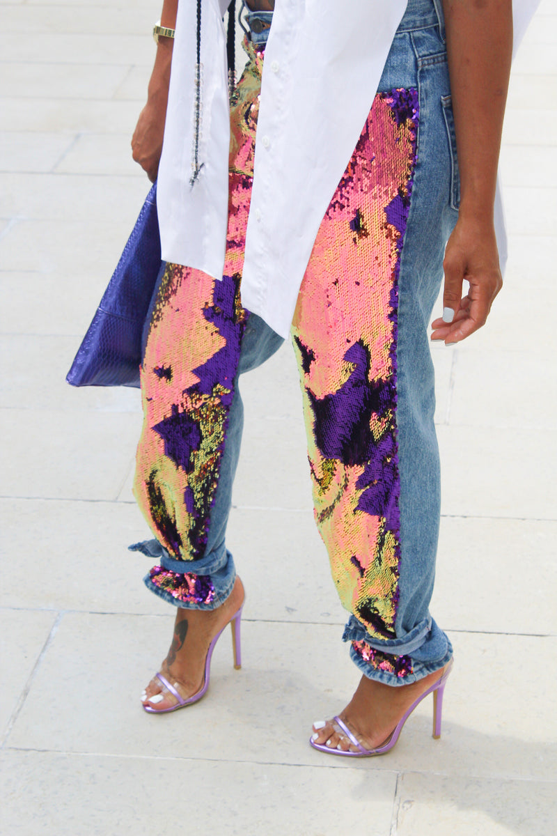 S. Denton Collection Iridescent Sequined Boyfriend Jeans