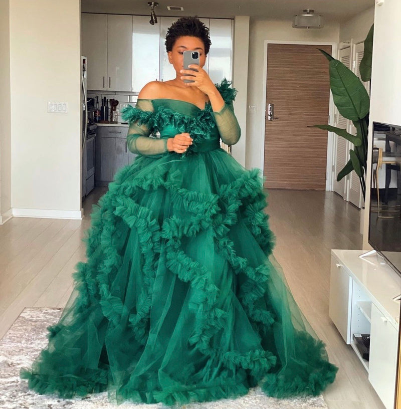 Oyemwen Off the Shoulder Green Tulle Robe