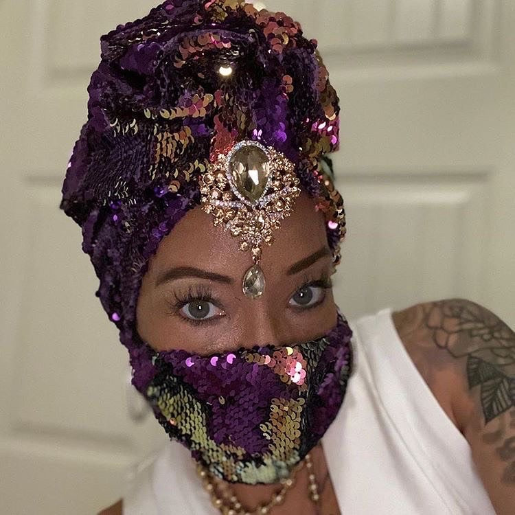 S. Denton Collection Unicorn Sequin Turban As Worn by Marlo Hampton