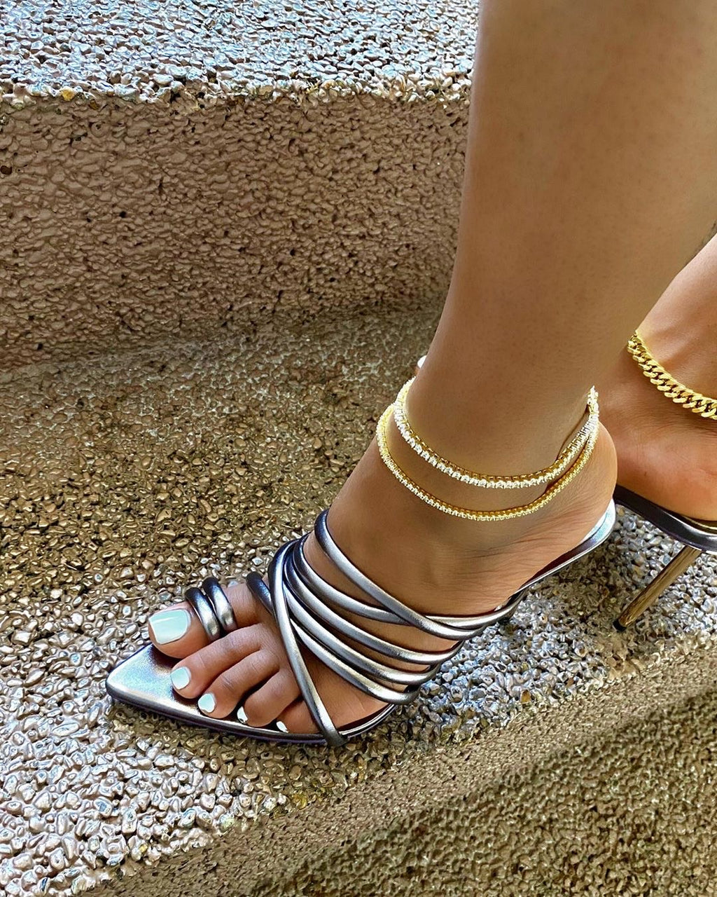 SybG by Sybille Guichard Always Strapped Pewter Gray Sandals