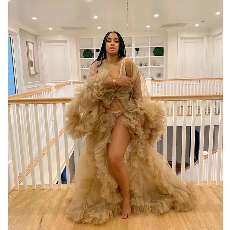 Oyemwen Nude Brown Tulle Robe