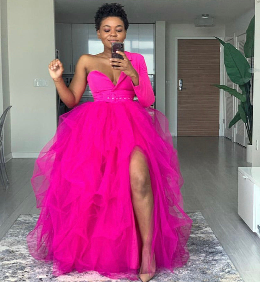 Oyemwen One Shoulder Tutu Dress Hot Pink