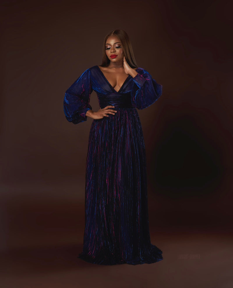 Oyemwen Holiday Collection Pleated Maxi Dress Purple/Blue