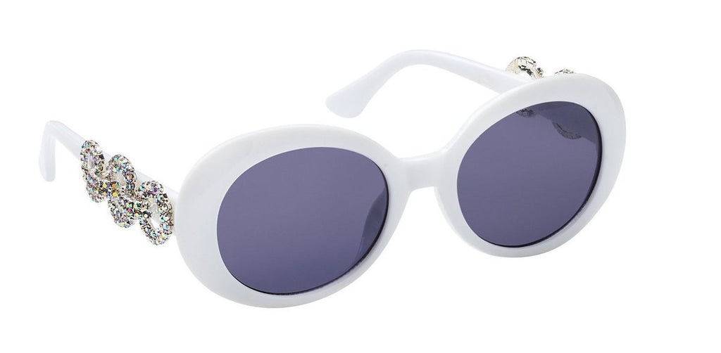 Nroda Crush on You Round White Goggle Sunglasses