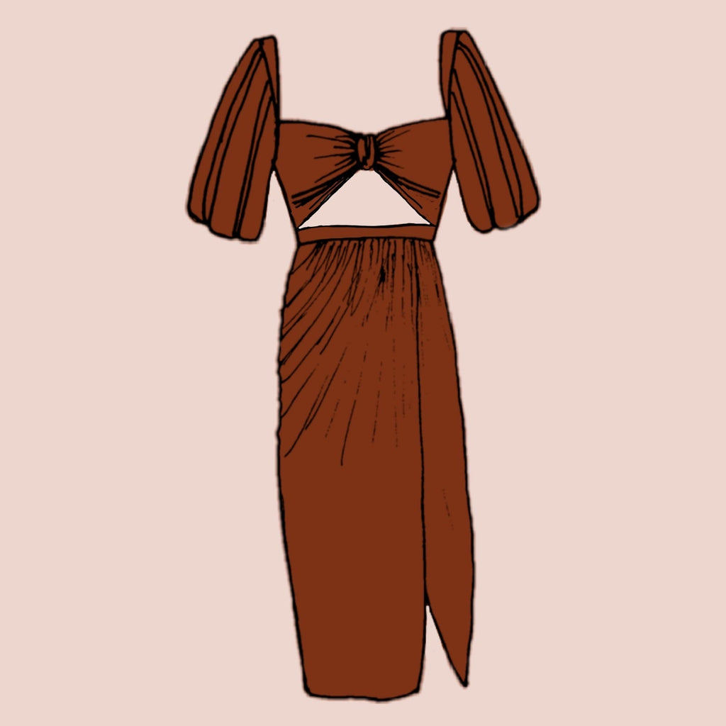 Fe Noel Rust Draped Cut Out Dress as Worn by Beyonce