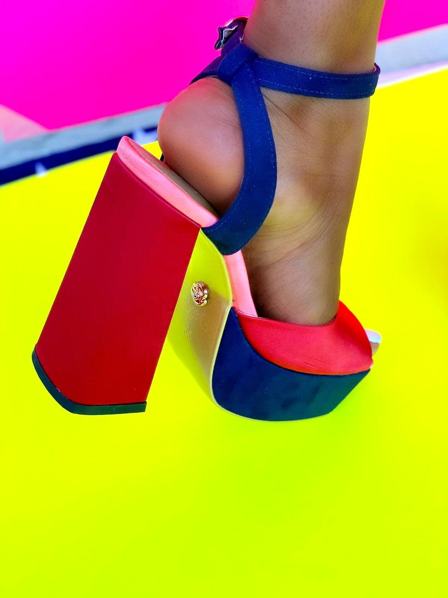 SybG by Sybille Guichard Red and Blue Colorblock Platform Sandals