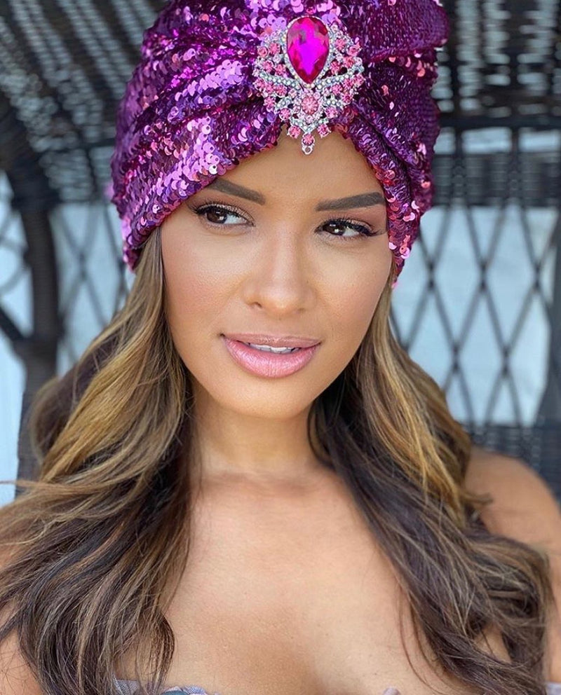 S. Denton Collection Pink/Pink Sequin Turban As Worn by Rocsi Diaz