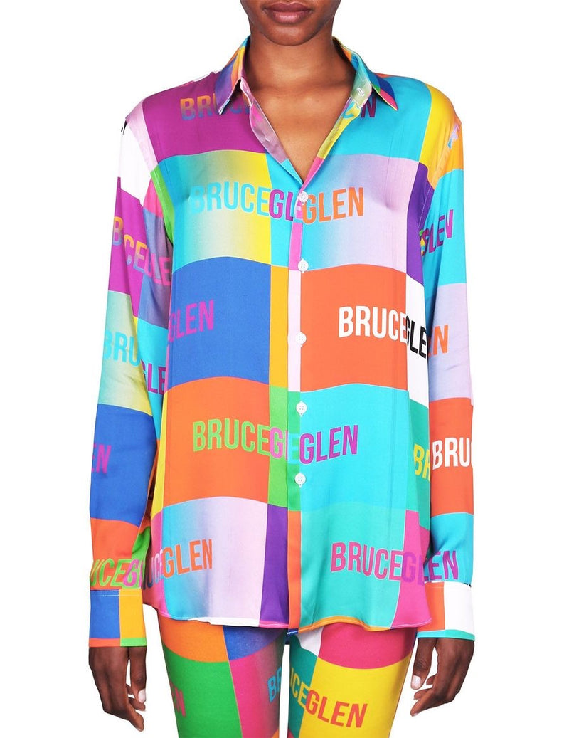 Bruce Glen Logo Blocks Silky Multicolor Button Down Shirt