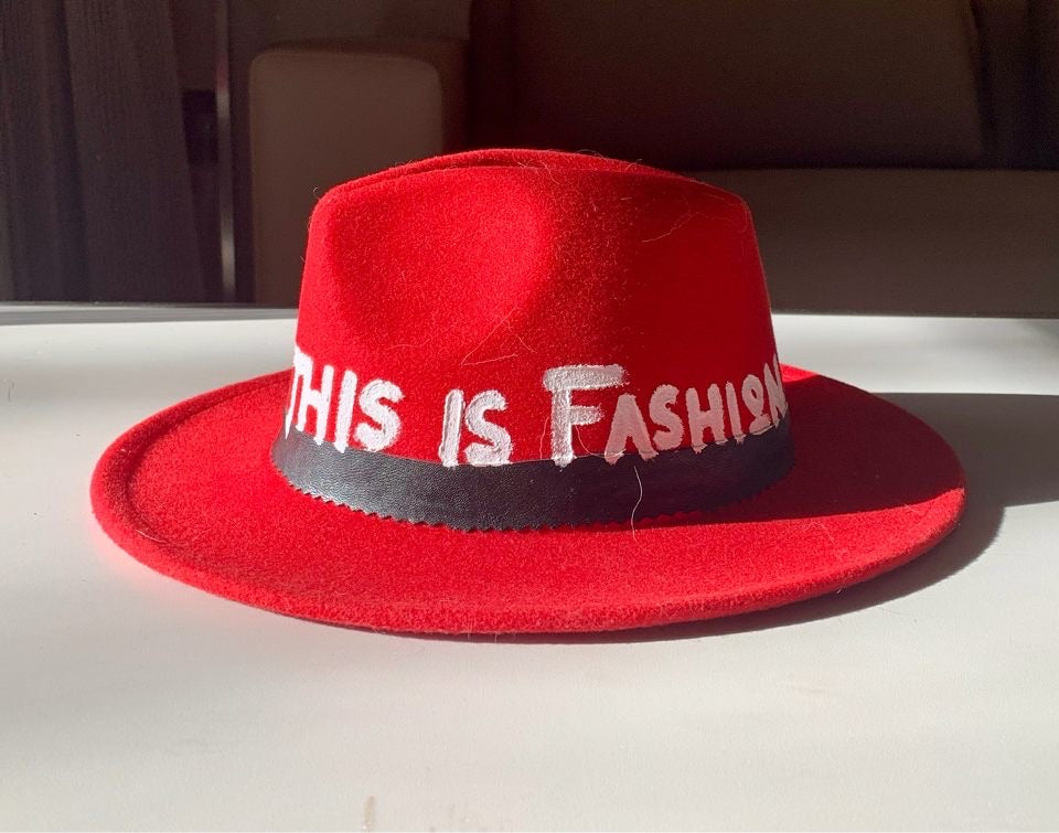 High End Junkie Red Socialite Hand-painted Fedora