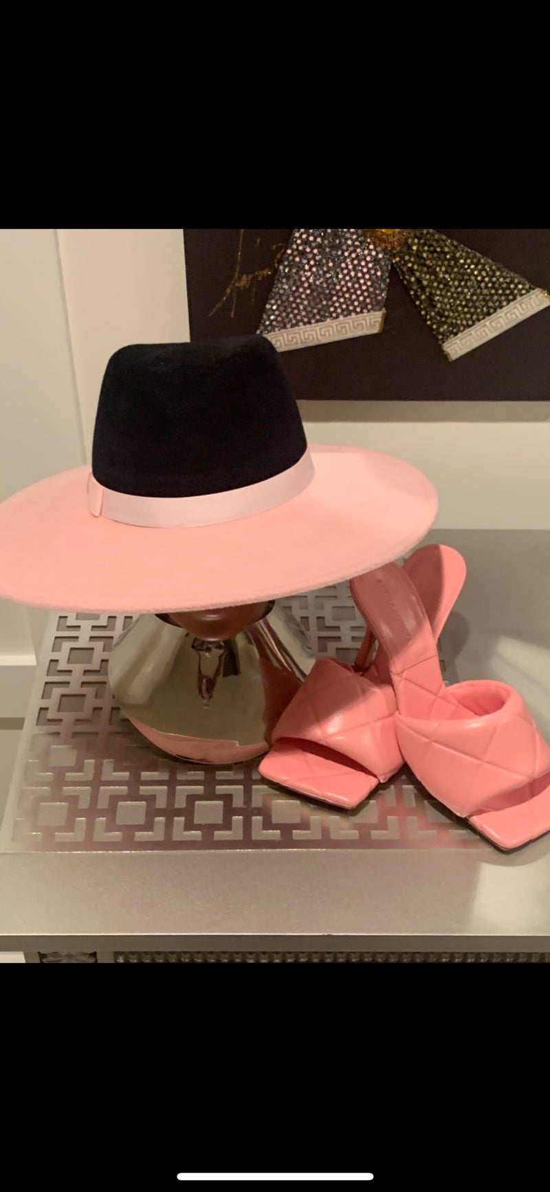 Color Block Gray and Pink Bottom Hat by Zenelia (More Colors Available)