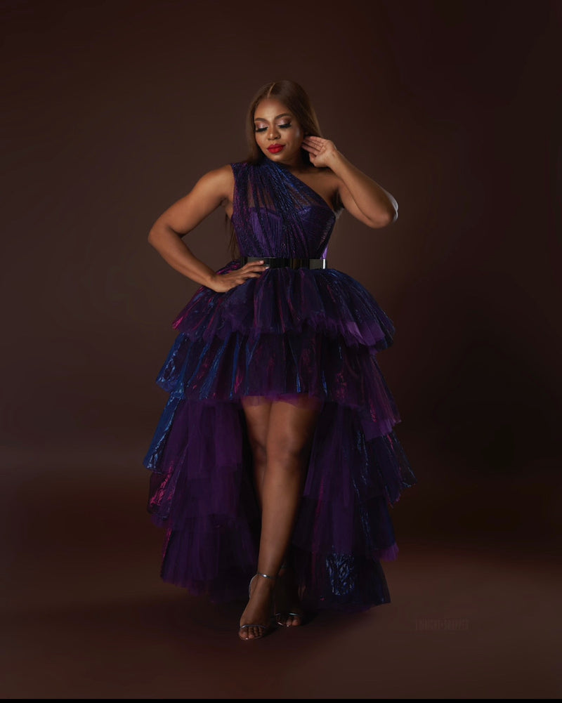 Oyemwen Holiday Collection Metallic Skirt Set Purple/Blue