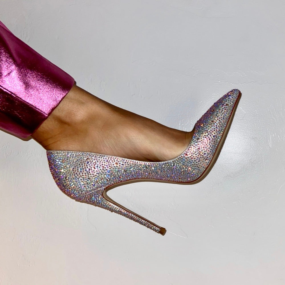 PRE-ORDER Cult of Coquette Snoh Embellished Vegan Leather Silver Pumps