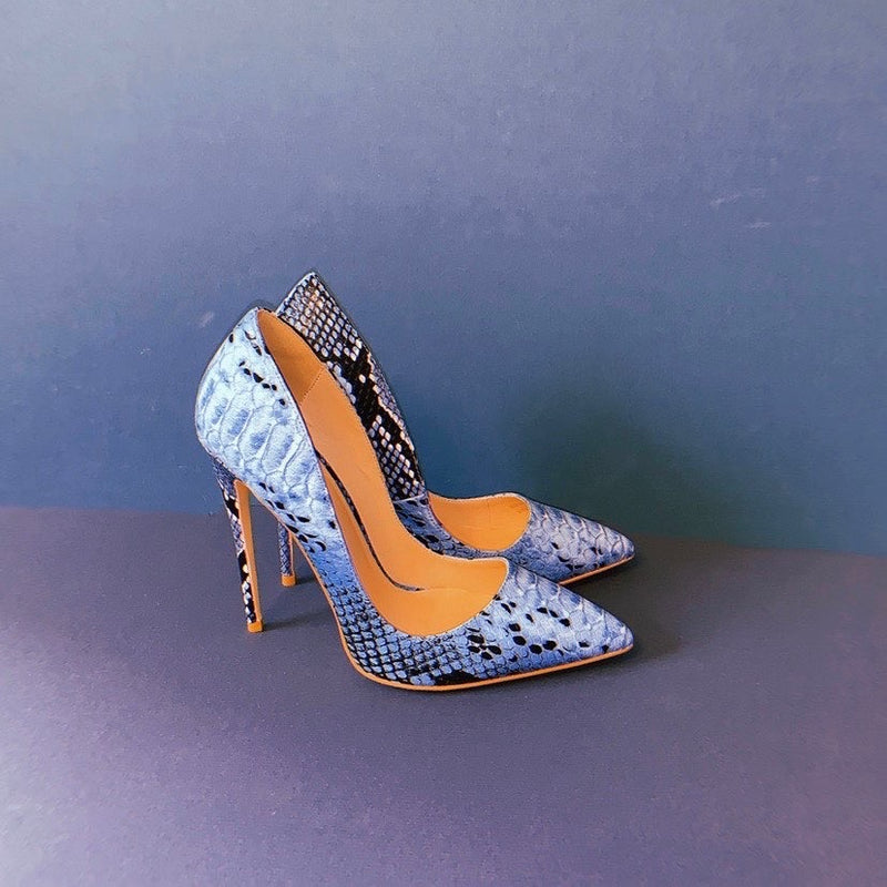 Cult of Coquette Gloria Vegan Leather Blue Snake Pumps