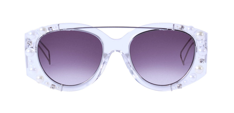 Nroda First Class White Pearl Embellished Sunglasses